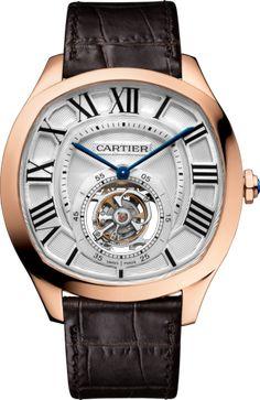 Reloj Drive de Cartier Tourbillon Volante Oro rosa, manual, piel
