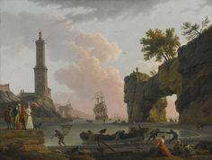 Claude-Joseph Vernet, Avignon 1714 - 1789 Paris-Mediterraneo puerto al atardecer con el artista, su hija EMILIE Chalgrin, su hijo Carle Vernet, su hija-en-ley, Fanny Moreau, y su criado Saint-Jean, en un embarcadero, un faro y un natural ARCH alla