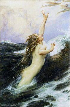 """""""Flying fish"""" Oil on canvas. 1910, Herbet James Draper"""