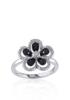 Belk  Co.  Black and White Diamond Flower Ring in Sterling Silver