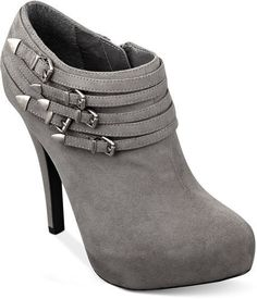 G by GUESS Lazer Buckle Shooties Booties GREY SUEDE Size 8.5 BNIB