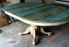 Distressed two toned farm table