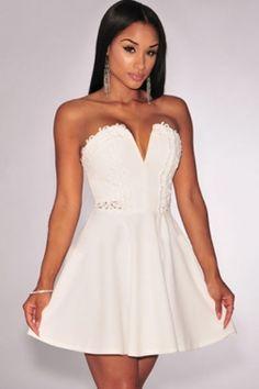 cd2c5fb8d326 White Embroidered Strapless Skater Dress Mini Skater Dress
