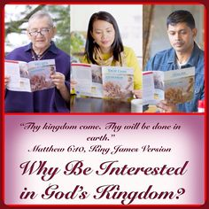 "Why Be Interested in God's Kingdom? Why do Jehovah's Witnesses focus on the Kingdom when most nominal Christian religions largely ignore it?   To find the answer in this COVER SUBJECT ""GOD'S KINGDOM—WHAT CAN IT MEAN FOR YOU?"" You will find the answers in this bible based study aid. Please  go to:    ♥•.¸¸.•♥   JW.org > Publications > Magazines >  The WATCHTOWER > October 2014 ""Why Be Interested in God's Kingdom?"""