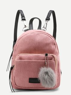 Pom Pom Decorated Corduroy Backpack Pink. Mini SacCuir VeloursSac À Dos ... 716b6ff6de0