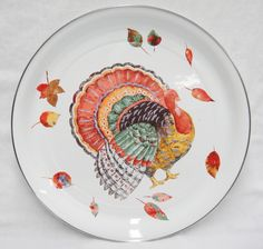 "Hallmark Enamel Turkey Serving Tray 16"" Round Metal Fall Leaves Thanksgiving"