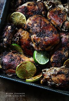 Slow Cooker Jerk Chicken with Garlic and Lime. Fresh ginger, allspice, and other yummy ingredients. The amazing aroma will drive your tastebuds insane!