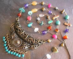 SALE Long Bohemian Multi Gemstone Necklace, Wire Wrapped Gypsy Necklace, Fall Boho Jewelry. sunrisetreasures via Etsy.