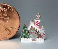 OOAK Miniature Dollhouse Christmas Putz Cottage Micro Gingerbread Doll House   eBay