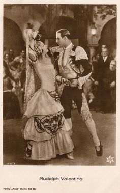 Rudolph Valentino & Nita Naldi in A Sainted Devil (1924 Silent Film) Famous Hollywood Actor in Spanish Torero Costume Original 1925 Postcard