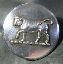 LARGE ANTIQUE SILVER PLATE LIVERY BUTTON - BULL