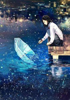 Pegando um pouco do céu Anime Girl Lindo Kawaii Cute Menina Lindo Desenho Drawing Blue