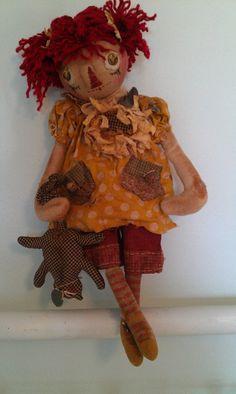 Kittie, Kat and Mouse, Primitive Raggedy Doll Pattern, PDF Version Fabric Dolls, Paper Dolls, Rag Dolls, Primitive Doll Patterns, Primitive Fall, Raggedy Ann And Andy, Dollhouse Dolls, Soft Dolls, Soft Sculpture