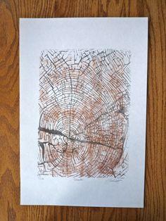 Tree stump lino print. $28.00, via Etsy.