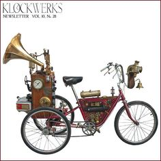 Created by Roger Wood of Klockwerks, it was made for a show involving kinetic sculptures, and its safe to say that his Steampunk bike was the most eye-catching piece in the room. Steampunk Bicycle, Steampunk Kunst, Steampunk Design, Steampunk Diy, Steampunk Machines, Cyberpunk, Steampunk Festival, Steampunk Gadgets, Steampunk Accessories
