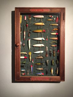 Vintage fishing lure shadow box