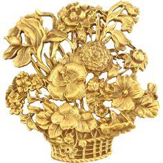Vintage Exquisite Museum of Fine Arts MFA Flower Basket Pin -- found at www.rubylane.com @rubylanecom #vintagebeginshere