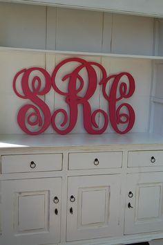 custom cut wood monagram letters - this would be SOOOOO cute above my bed! :)