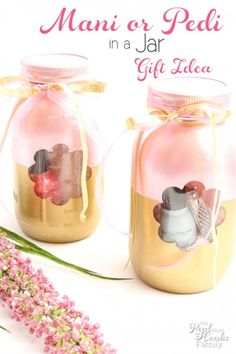 Manicure or Pedicure in a Jar. This would be great with handmade products!