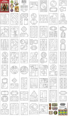 Art Deco Stained Glass Patterns - look fun to color Faux Stained Glass, Stained Glass Designs, Stained Glass Projects, Stained Glass Patterns, Mosaic Patterns, Stained Glass Windows, Stencil Patterns, Motif Art Deco, Art Deco Pattern