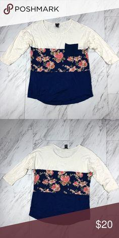 258e1241dea1 Cute Floral Blue Floral Print Color Block Raglan This color block