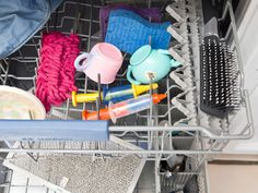 Things You Can Clean in the Dishwasher.. (I wouldn't put a hair brush in the dishwasher though, just saying!!!!)
