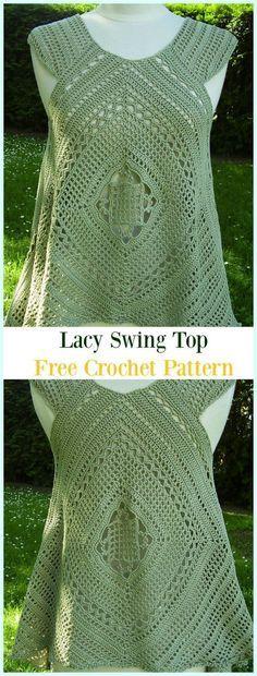 Häkeln Sie Lacy Swing Top Free Pattern - # Crochet Summer Kostenlose Muster Source by anerekom T-shirt Au Crochet, Bikini Crochet, Pull Crochet, Mode Crochet, Crochet Shirt, Crochet Woman, Crochet Cardigan, Crochet Sweaters, Crochet Braids