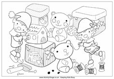 Christmas elves colouring page