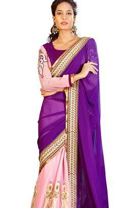 New Saree Designs, Purple Saree, Indian Wedding Outfits, Wedding Sari, Indian Weddings, Latest Designer Sarees, Indian Sarees Online, Sari Blouse, Abayas