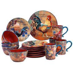 Rooster Print Dinnerware Set 16 Piece Ceramic Dinner Desert Plates Mugs Bowls #CI