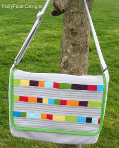 Solids Messenger bag hanging by Sarah @ FairyFace Designs, via Flickr