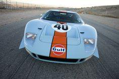 Automobiles : 1968 Ford GT40 Gulf/Mirage Lightweight Racing Car | Blouin Boutique | 440 bhp at 6,800 rpm, 289 cu in OHV V-8 engine, four 48 IDA Weber carburetors, ZF 5DS25/1 five-speed manual gearbox