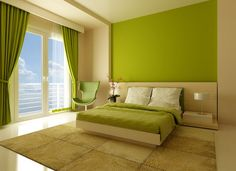 Bright Green and White Bedroom Interior Colors