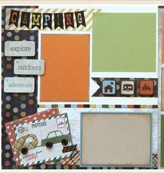 Scrapbooking Kit, precut scrapbook page layout kit, camping scrapbook
