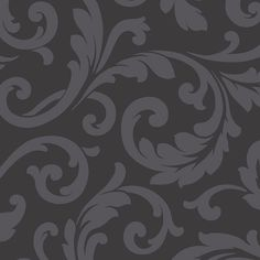 Add a dramatic touch to your wall space with the addition of this durable and realistic Hyatt Scroll Wallpaper from Norwall. Brick Wallpaper Roll, Trellis Wallpaper, Botanical Wallpaper, Damask Wallpaper, Vinyl Wallpaper, Print Wallpaper, Black Wallpaper, Cool Wallpaper, Wallpaper Backgrounds