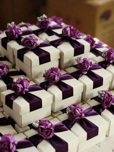 White Wedding Favor Candy Box With Purple Ribbon And Purple , Silver Flowers , DIY Party Paper Favor Box , Candy Box