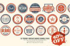 33 Trendy Vintage Badges Bundle Pack by Yusof Mining on Creative Market