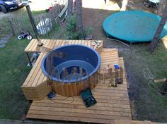 Sunken inground built in hot tub jacuzzi for sale , Wood fired - electrically heater hot tub sunken built in terrace fiberglass jacuzzi. Sunken Hot Tub, Jacuzzi Hot Tub, Hot Tub Deck, Pool Garden, Hot Tub Garden, Whirlpool Deck, Hot Tub Surround, Pool Diy, Bubble House
