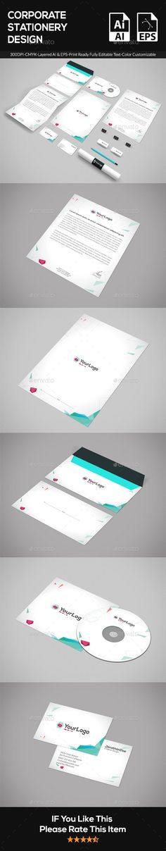 Buy Corporate Stationery by UniqueTribe on GraphicRiver. EPS and AI formats 300 DPI CMYK Print Ready! Business Card = x with bleed) Letterhead in size. Corporate Stationary, Corporate Identity, Stationery Printing, Stationery Design, Presentation Folder, Information Graphics, Cd Cover, Letterhead, Print Templates
