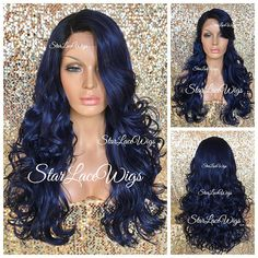 Lace Front Wig - Human Hair Blend - Curly - Long - Dark Blue - Black Roots - Side Part - Heat Safe - Cosplay **This unit ships 3-4 (business days) after payment is processed** **Once shipped this unit takes 2-4 days to arrive (in US)** **FREE SHIPPING - In the (US)** :::WHY YOU WILL