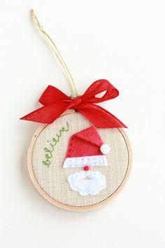 Believe in Santa 3 Hoop Art Christmas Ornament by TwoElephantsShop, $9.00