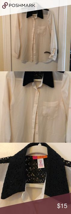 Catch My see through blouse Very pretty cream with black trim on collar and back can wear sleeves up or down size Med Tops Blouses