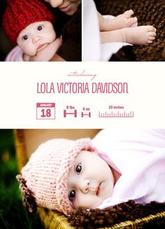 Photo Birth Announcement Infograph Girl Baby Announcement