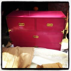 I SERIOUSLY LOVE, LOVE, LOVE this campaing dresser. I love the raspberry color. It would be perfect for my daughters' room and possibly for my house.   (Source: Grant K. Gibson - the blog: My campaign story)