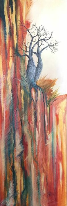 """Tenacity"" Oil on canvas by Jeanne Barnes, featuring boab trees from the Kimberley, Western Australia https://www.facebook.com/Jeanne.Barnes.Artist.Kununurra. sold"