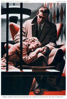 Saturday Evening Post Illustrated by James R. Pulp Fiction Art, Pulp Art, Magazine Illustration, Illustration Art, Romance, Robert Mcginnis, Mid Century Art, Illustrations, Retro Art