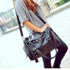 [grhmf2200012]New Style Rivets Tassel Handbag Shoulder Bag
