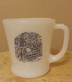 Anchor Hocking Fire King Currier & Ives Milk Glass Decal Cup Coffee  Mug