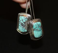 Long Tibetan turquoise earrings by MyFascinationStreet on Etsy