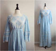 Fresh Vintage Mexican Wedding Dress Lace crochet by PARASOLvintage